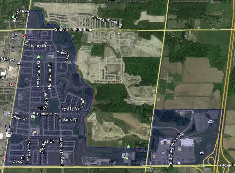 Bayview Northeast Aurora Homes Houses Detached Semi-Detached Town Map